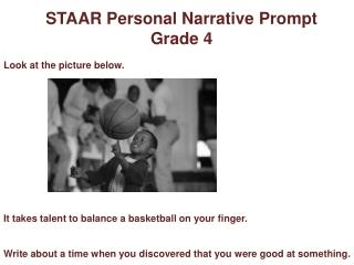 STAAR Personal Narrative Prompt  Grade 4