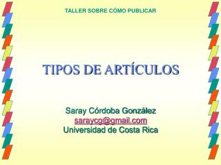 TIPOS DE ART CULOS