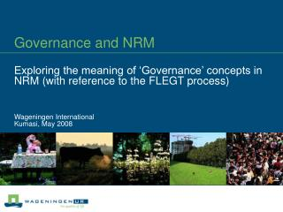 Governance and NRM