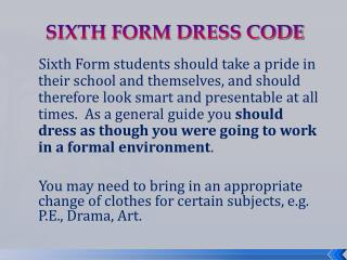 SIXTH FORM DRESS CODE