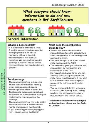 What everyone should know-  information to old and new             members in Brf J rf llahusen