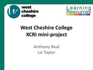 West Cheshire College XCRI mini-project