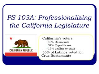 PS 103A: Professionalizing the California Legislature
