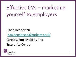 Effective CVs   marketing yourself to employers