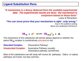 Ligand Substitution Rxns