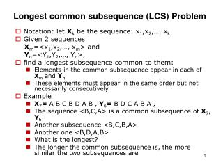 Longest common subsequence LCS Problem