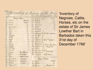 Inventory of Negroes, Cattle, Horses, etc on the estate of Sir James Lowther Bart in Barbados taken this 31st day of Dec