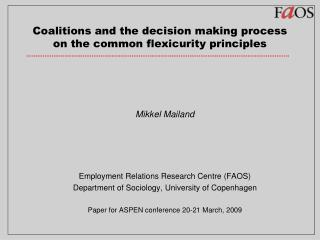 Coalitions and the decision making process on the common flexicurity principles