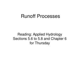 Runoff Processes