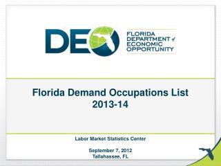 Florida Demand Occupations List 2013-14