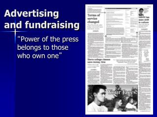 Advertising  and fundraising