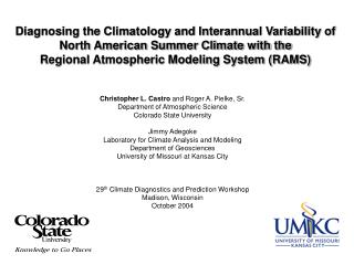 Diagnosing the Climatology and Interannual Variability of North American Summer Climate with the  Regional Atmospheric M