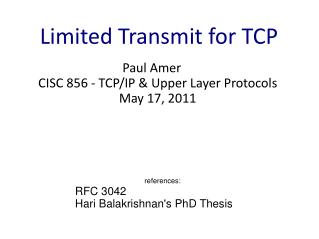 Limited Transmit for TCP