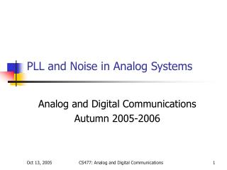 PLL and Noise in Analog Systems