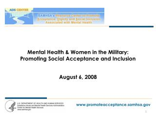 Mental Health  Women in the Military:  Promoting Social Acceptance and Inclusion