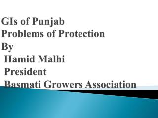 GIs of Punjab Problems of Protection By  Hamid Malhi  President  Basmati Growers Association