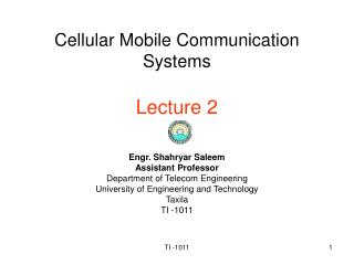 Cellular Mobile Communication Systems  Lecture 2