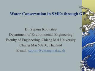 Water Conservation in SMEs through GP