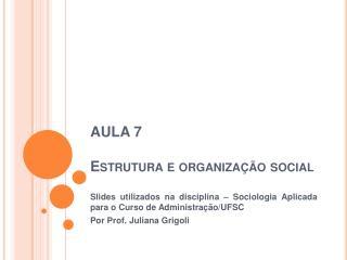 Estrutura e organiza  o social