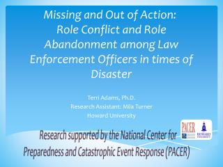 Missing and Out of Action:  Role Conflict and Role Abandonment among Law Enforcement Officers in times of Disaster