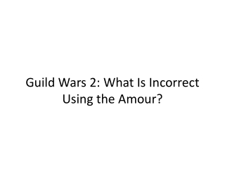 Guild Wars 2: What Is Incorrect Using the Amour?