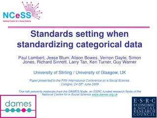 Standards setting when standardizing categorical data