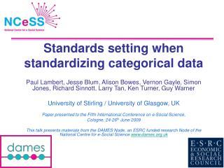 Standards setting when standardizing categorical data