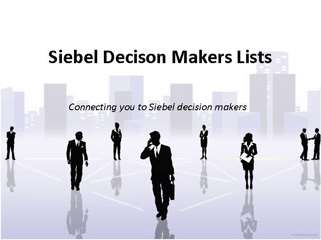 Connecting you to Siebel decision makers