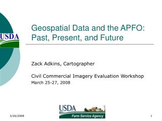 Geospatial Data and the APFO: Past, Present, and Future
