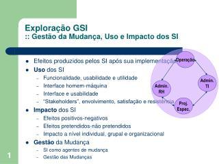 Explora  o GSI :: Gest o da Mudan a, Uso e Impacto dos SI