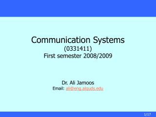 Communication Systems  0331411 First semester 2008