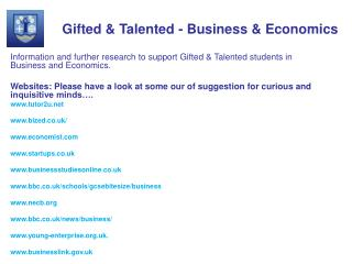 Gifted  Talented - Business  Economics