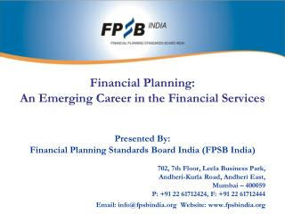 Financial Planning: An Emerging Career in the Financial Services