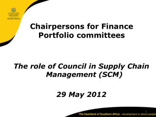 Chairpersons for Finance Portfolio committees