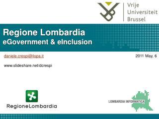 Regione Lombardia eGovernment  eInclusion