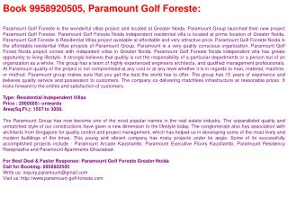 Real Estate @9958920505-Paramount Golf Foreste-Paramount Gol