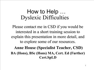 How to Help    Dyslexic Difficulties