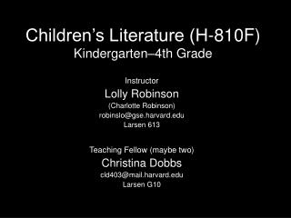 Children s Literature H-810F Kindergarten 4th Grade