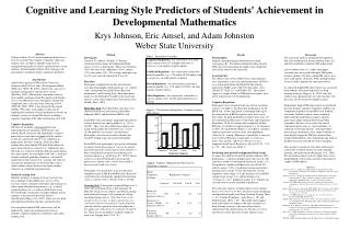 Cognitive and Learning Style Predictors of Students Achievement in Developmental Mathematics