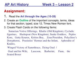 AP Art History              Week 3   Lesson 2
