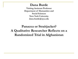 Dana Burde Visiting Assistant Professor Department of Humanities and  Social Sciences New York University dana.burdenyu