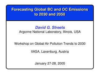 Forecasting Global BC and OC Emissions