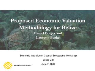 Proposed Economic Valuation Methodology for Belize Daniel Prager and  Lauretta Burke