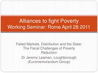 Alliances to fight Poverty Working Seminar: Rome April 28 2011