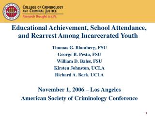 Educational Achievement, School Attendance, and Rearrest Among Incarcerated Youth