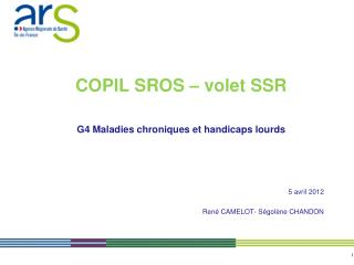 COPIL SROS   volet SSR  G4 Maladies chroniques et handicaps lourds     5 avril 2012  Ren  CAMELOT- S gol ne CHANDON