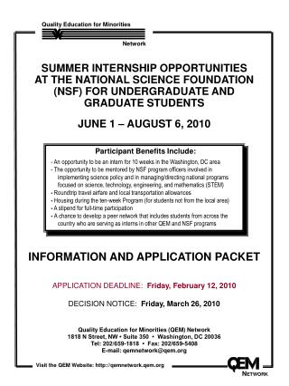 INFORMATION AND APPLICATION PACKET   APPLICATION DEADLINE:  Friday, February 12, 2010  DECISION NOTICE:  Friday, March 2