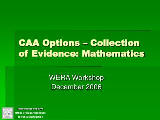 CAA Options   Collection of Evidence: Mathematics