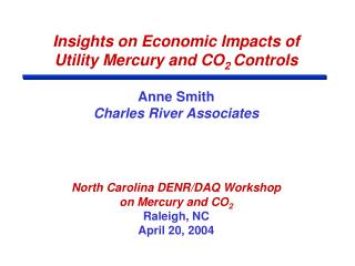 Insights on Economic Impacts of  Utility Mercury and CO2 Controls