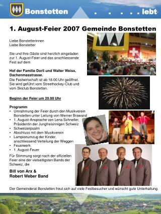 1. August-Feier 2007 Gemeinde Bonstetten